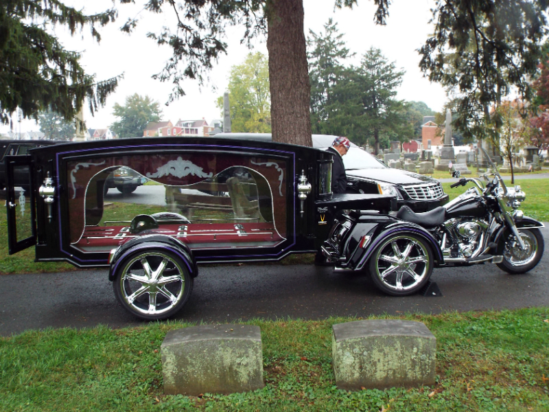 Picture of a motor bike hearse