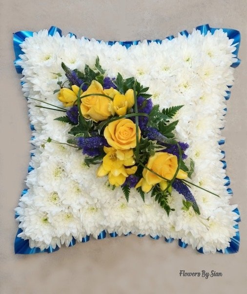Blue themed Floral Pillow