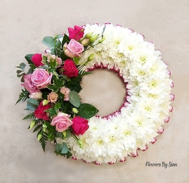 Red and Pink Roses Wreath