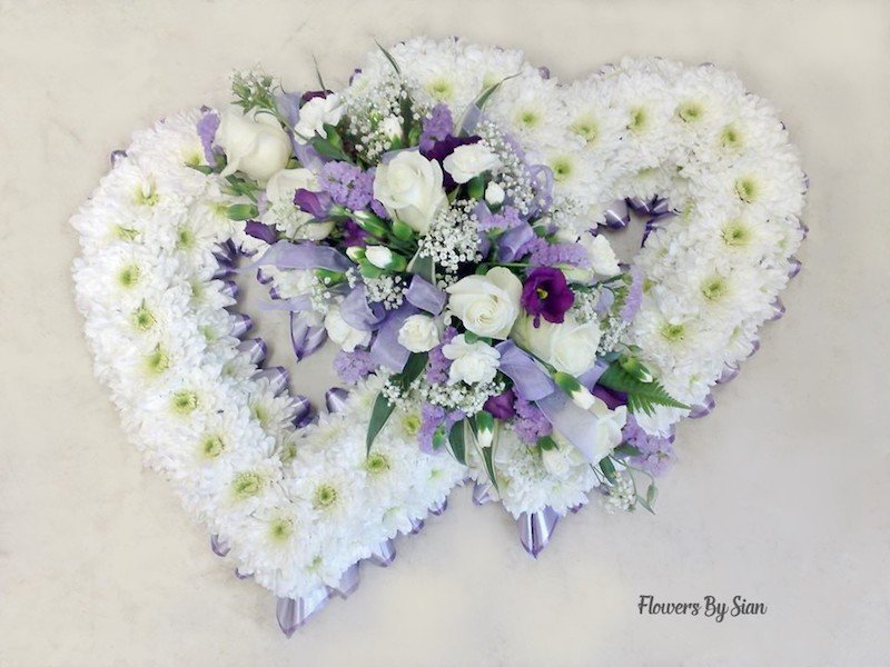 Two Hearts Floral Tribute White Roses