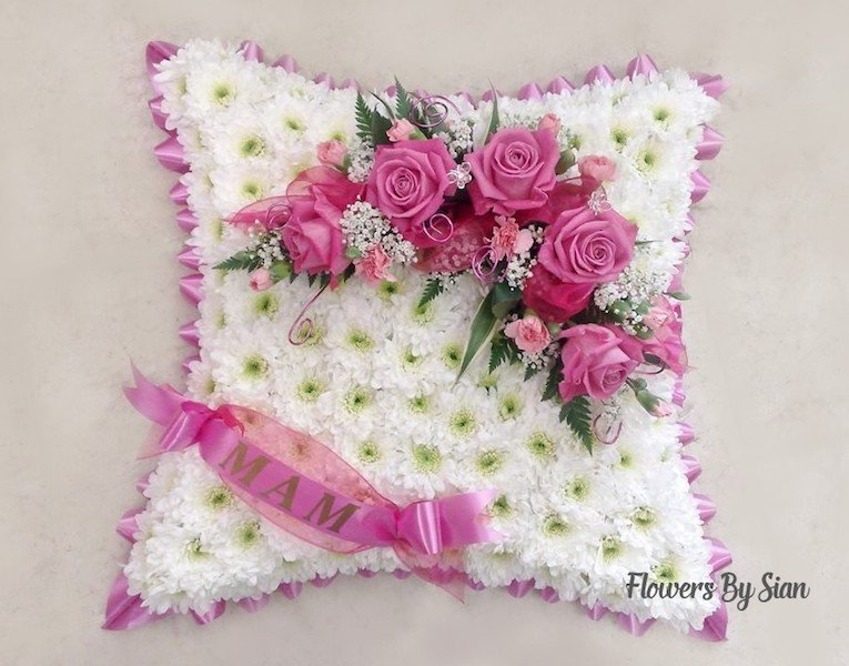 floral funeral pillow pink  roses  pink  border