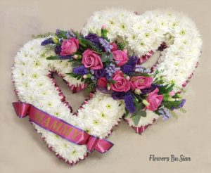 Two Hearts Floral Tribute Pink Roses