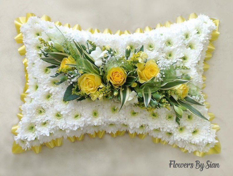 floral funeral pillow yellow  roses  yellow border