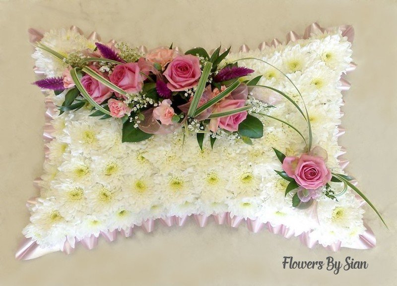 floral funeral pillow pink roses