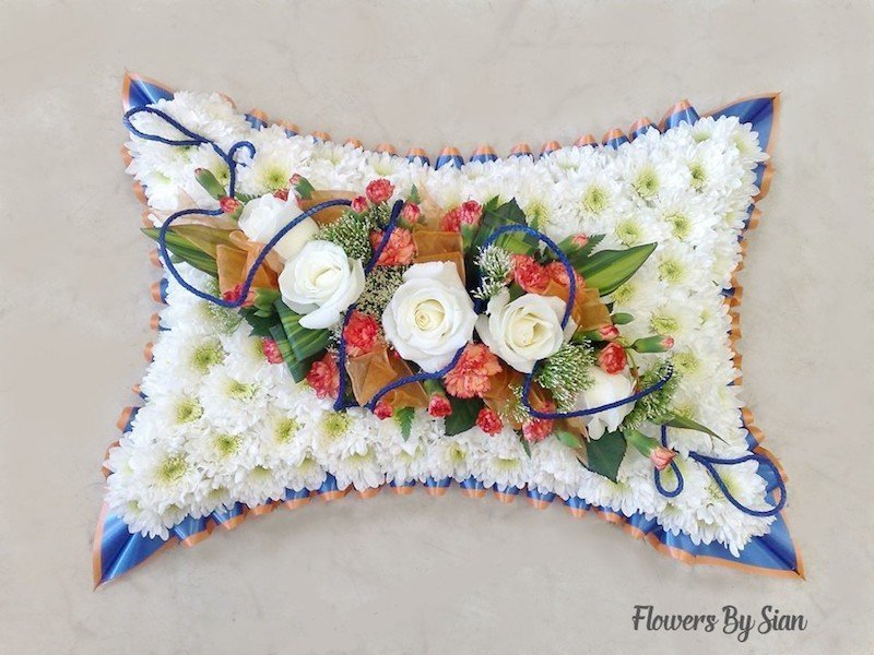 floral funeral pillow white roses