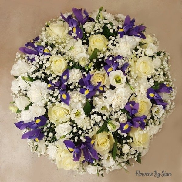 Yellow Rose Purple Ribbon Wreath
