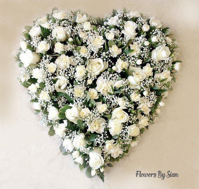 Heart Floral Tribute White Roses